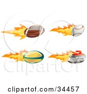 Clipart Illustration Of A Fast Fiery American Football Baseball Rugby Ball And Curling Stone by AtStockIllustration
