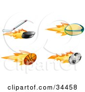 Clipart Illustration Of A Fast Fiery Hockey Stick Hitting A Puck Rugby Ball Basketball And Soccer Ball by AtStockIllustration