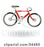Clipart Illustration Of A Red Bicycle Hovering by AtStockIllustration
