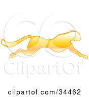 Clipart Illustration Of A Fast Yellow Cheetah In Profile Sprinting Past by AtStockIllustration
