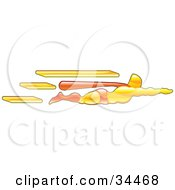 Clipart Illustration Of A Super Hero Flying With His Arms Out His Red Cape Stretched In The Wind