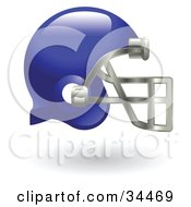 Clipart Illustration Of A Blue Protective Football Helmet by AtStockIllustration