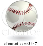 Clipart Illustration Of A White Baseball With Red Stitching by AtStockIllustration