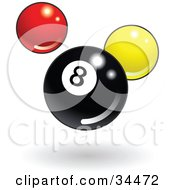 Clipart Illustration Of A Shiny Billiards Eight Ball With Red And Yellow Balls