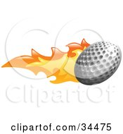Clipart Illustration Of A Golf Ball On Fire by AtStockIllustration