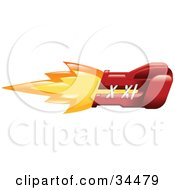 Clipart Illustration Of A Punching Red Boxing Glove On Fire by AtStockIllustration