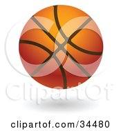 Clipart Illustration Of A Hovering Leather Basketball by AtStockIllustration