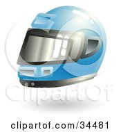 Clipart Illustration Of A Protective Blue Racing Helmet