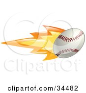 Clipart Illustration Of A Flaming Baseball Flying Past by AtStockIllustration