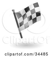 Clipart Illustration Of A Waving Black And White Checkered Racing Flag