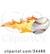 Clipart Illustration Of A Baseball On Fire by AtStockIllustration