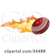 Clipart Illustration Of A Flaming Cricket Ball Flying Past by AtStockIllustration