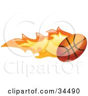 Clipart Illustration Of A Basketball On Fire