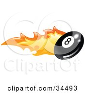 Clipart Illustration Of A Flaming Eight Ball Flying Past