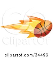 Clipart Illustration Of A Flaming Basketball Flying Past