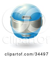 Clipart Illustration Of A Blue Protective Racing Helmet