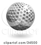 Clipart Illustration Of A Hovering Dimpled Golf Ball by AtStockIllustration