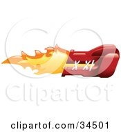 Clipart Illustration Of A Flaming Red Boxing Glove Punching by AtStockIllustration