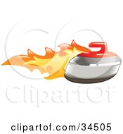Clipart Illustration Of A Curling Stone On Fire