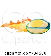Clipart Illustration Of A Yellow Rugby Ball On Fire by AtStockIllustration