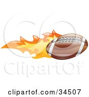 Clipart Illustration Of A Flaming American Football Flying Past by AtStockIllustration