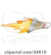 Clipart Illustration Of A Flaming Badminton Shuttlecock Flying Past by AtStockIllustration