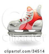 Clipart Illustration Of A Red Hockey Ice Skate