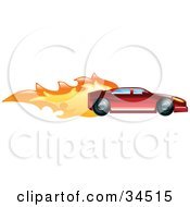 Clipart Illustration Of A Fast Red Sports Car Speeding With Flames by AtStockIllustration