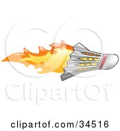 Clipart Illustration Of A Badminton Shuttlecock On Fire by AtStockIllustration