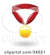 Golden First Place Medal On A Red Ribbon