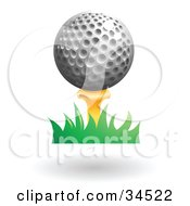 Clipart Illustration Of A Golf Ball Resting On Top Of A Yellow Tee In Grass by AtStockIllustration