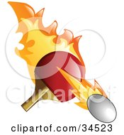 Clipart Illustration Of A Flaming Pink Pong Paddle Whacking A Ball