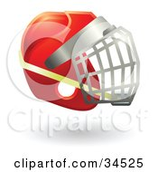 Clipart Illustration Of A Red Protective Hockey Helmet by AtStockIllustration