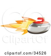 Clipart Illustration Of A Flaming Curling Stone Flying Past