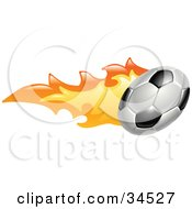 Clipart Illustration Of A Flaming Soccer Ball Flying Past