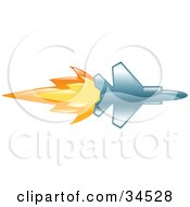 Clipart Illustration Of A Fast Jet With Fire Bursting Out Of The Rear