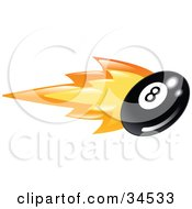 Clipart Illustration Of A Billiards Eight Ball On Fire