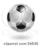 Clipart Illustration Of A Black And White Association Football Soccer Ball by AtStockIllustration