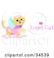 Clipart Illustration Of A Prancing Angel Cat With Wings A Halo And Angel Girl Text by bpearth