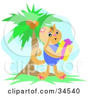 Clipart Illustration Of A Happy Hawaiian Cat Holding A Gift Near A Palm Tree On Christmas by bpearth