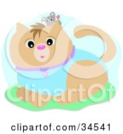 Clipart Illustration Of A Little Gray Mouse Holding A Flower Peeking Over A Cats Ear