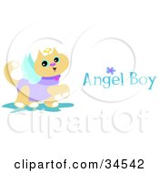 Clipart Illustration Of A Prancing Angel Cat With Wings A Halo And Angel Boy Text by bpearth