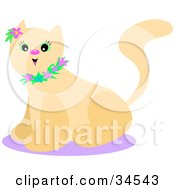 Clipart Illustration Of An Excited Beige Kitty Cat With Green Eyes Wearing A Floral Collar And A Purple Flower By Her Ear Sitting On A Purple Rug by bpearth