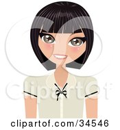 Clipart Illustration Of A Friendly Caucasian Woman Smiling At The Viewer