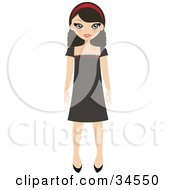 Clipart Illustration Of A Pretty Teenaged Girl Wearing A Headband And Brown Dress