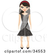 Clipart Illustration Of A Pretty Teenaged Girl Wearing A Headband And Brown Polka Dot Dress