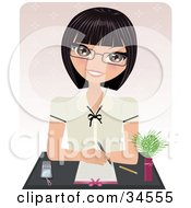 Clipart Illustration Of A Professional Caucasian Woman Sitting Behind A Desk Ready To Take Notes