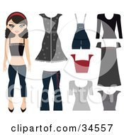 Teen Paper Doll Girl In Jeans A Tank Top And Headband Standing With Her Wardrobe