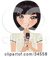 Clipart Illustration Of A Pretty Caucasian Lady Holding A Microphone While Giving A Speech