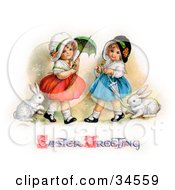 Clipart Illustration Of Two Sisters Walking Their Pet Rabbits On Leashes And Carrying Parasols On Easter